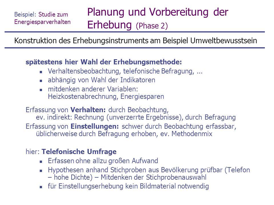 Beispiel: Studie zum Energiesparverhalten Planung und Vorbereitung der Erhebung (Phase 2) spätestens hier Wahl der Erhebungsmethode: Verhaltensbeobachtung, telefonische Befragung,...