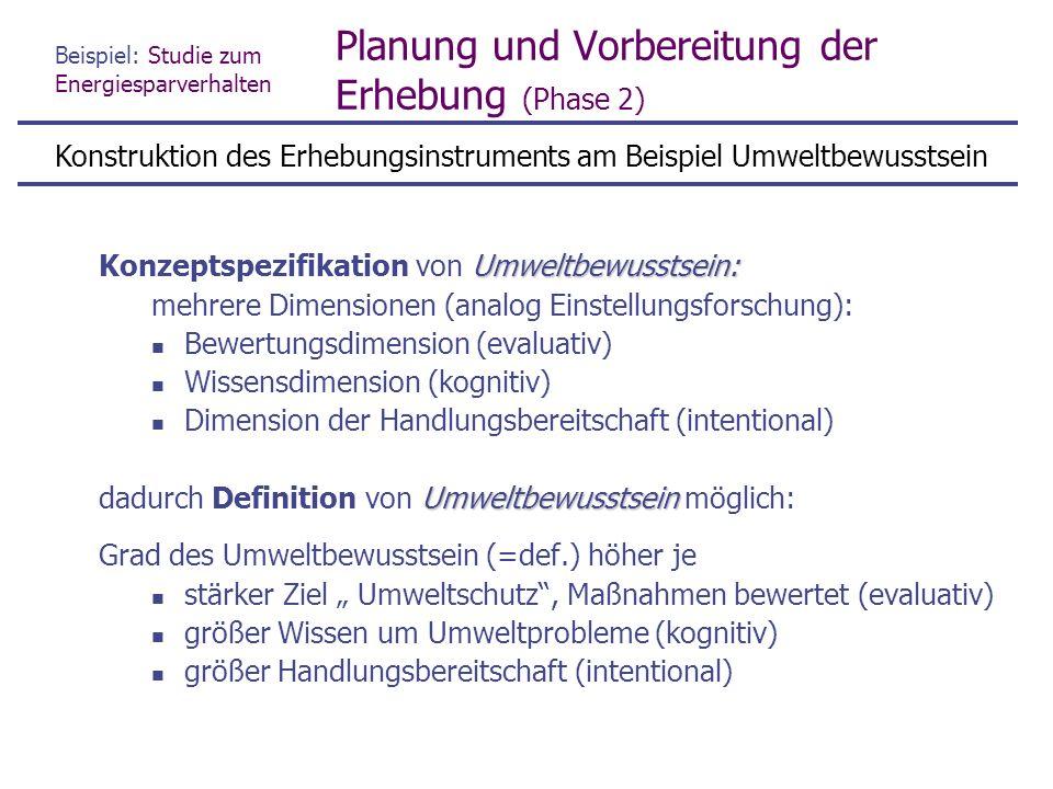 """Beispiel: Studie zum Energiesparverhalten Planung und Vorbereitung der Erhebung (Phase 2) """"Umweltbewusstsein in 3 Dimensionen (Variablen) zerlegt Definition sagt noch nicht, wie man zu Variablenwerten kommt Problem der Operationalisierung wie messen ."""