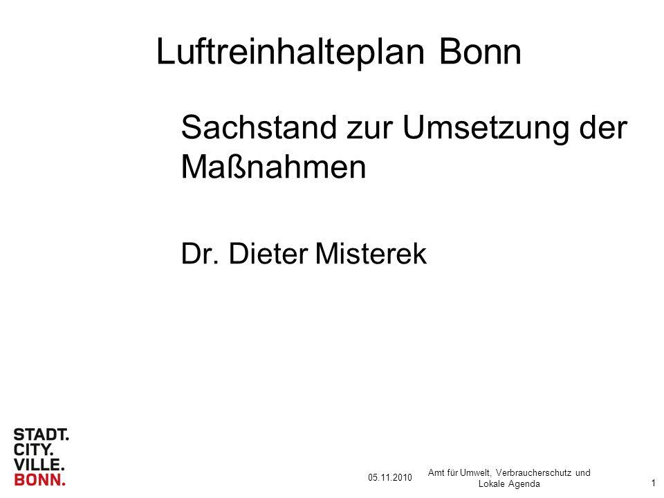05.11.2010 Amt für Umwelt, Verbraucherschutz und Lokale Agenda 1 Luftreinhalteplan Bonn Sachstand zur Umsetzung der Maßnahmen Dr.