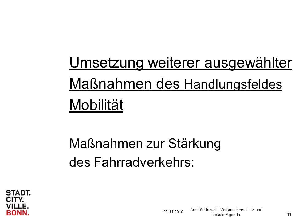 05.11.2010 Amt für Umwelt, Verbraucherschutz und Lokale Agenda 11 Umsetzung weiterer ausgewählter Maßnahmen des Handlungsfeldes Mobilität Maßnahmen zur Stärkung des Fahrradverkehrs: