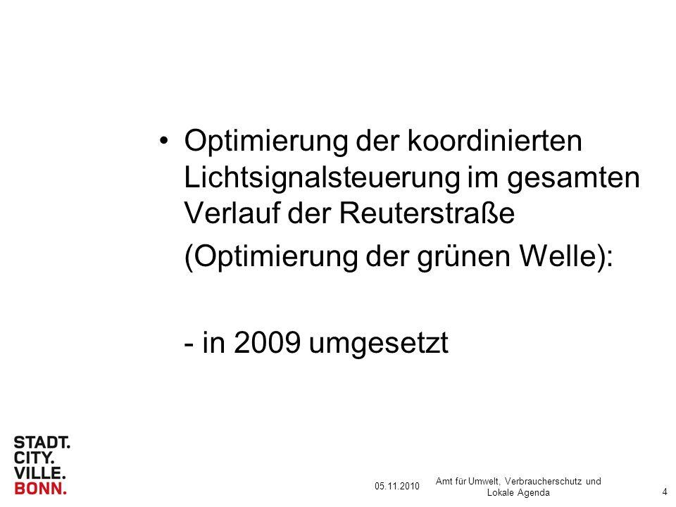 05.11.2010 Amt für Umwelt, Verbraucherschutz und Lokale Agenda 4 Optimierung der koordinierten Lichtsignalsteuerung im gesamten Verlauf der Reuterstraße (Optimierung der grünen Welle): - in 2009 umgesetzt