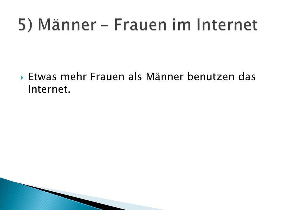 Etwas mehr Frauen als Männer benutzen das Internet.