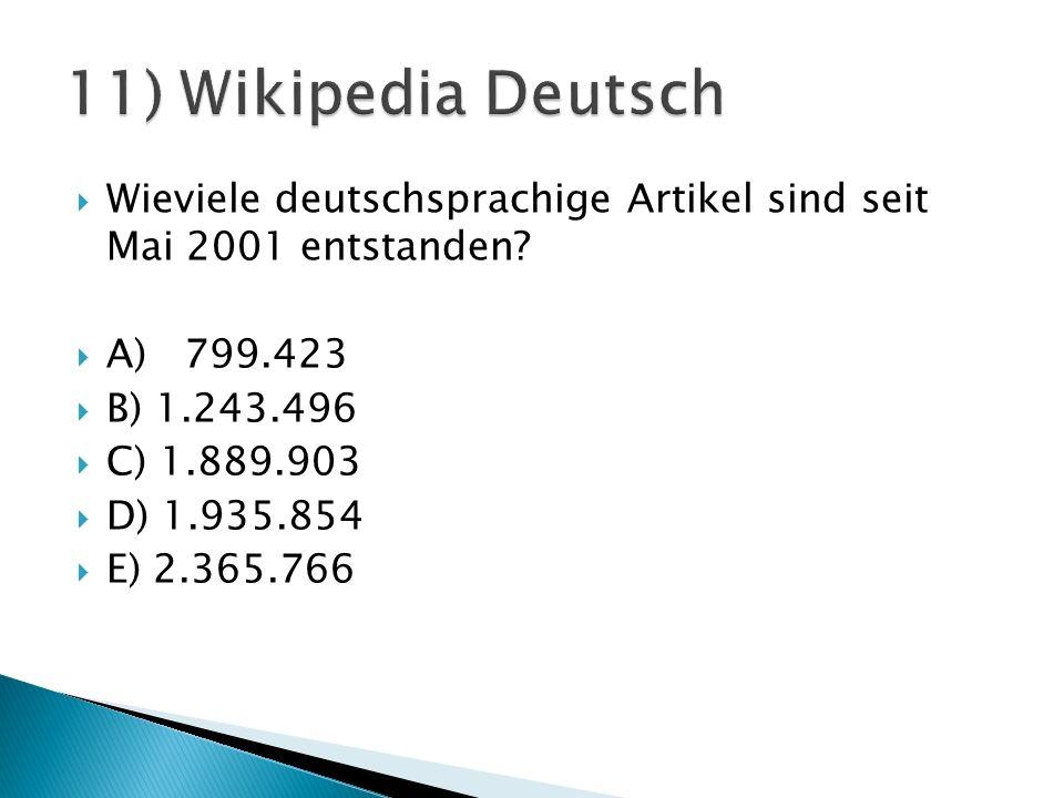  Wieviele deutschsprachige Artikel sind seit Mai 2001 entstanden.
