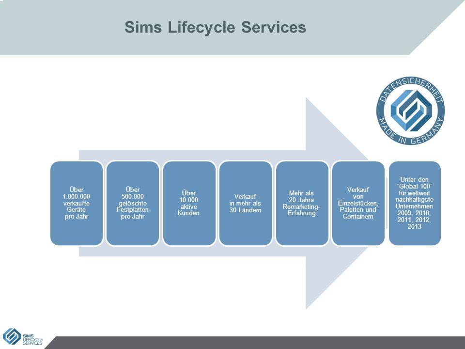 Sims Lifecycle Services Über 1.000.000 verkaufte Geräte pro Jahr Über 500.000 gelöschte Festplatten pro Jahr Über 10.000 aktive Kunden Verkauf in mehr als 30 Ländern Mehr als 20 Jahre Remarketing- Erfahrung Verkauf von Einzelstücken, Paletten und Containern Unter den Global 100 für weltweit nachhaltigste Unternehmen 2009, 2010, 2011, 2012, 2013