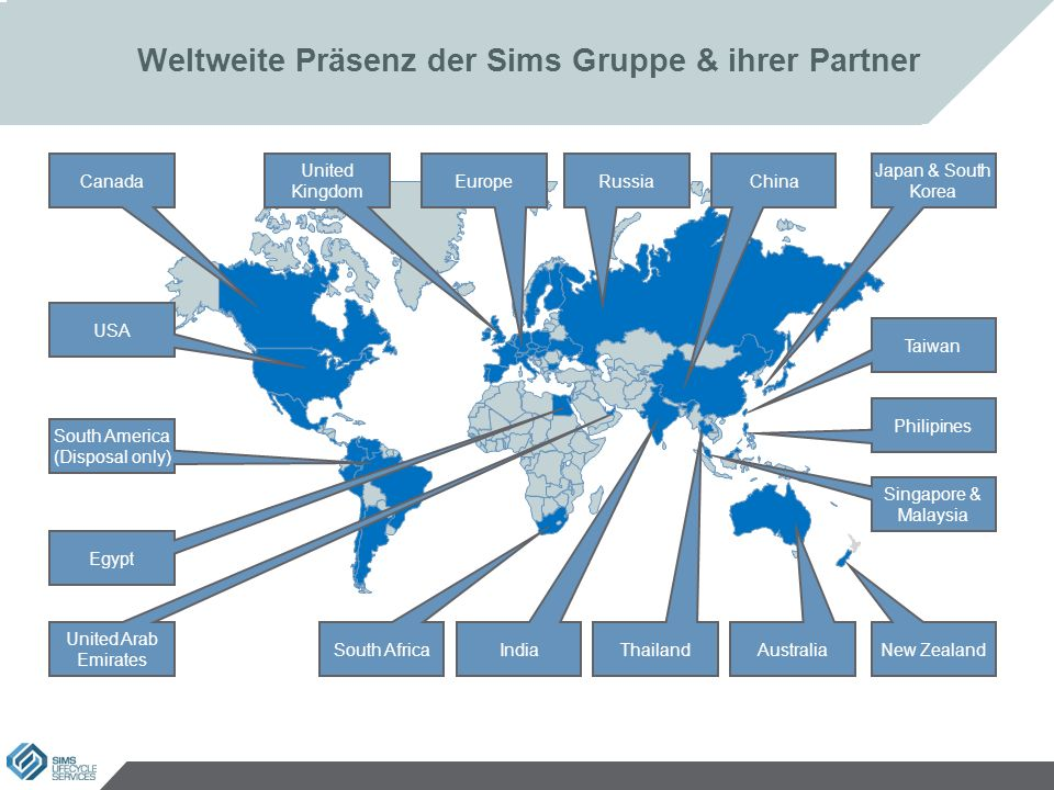 Weltweite Präsenz der Sims Gruppe & ihrer Partner 6 Singapore & Malaysia Canada USA Australia India South America (Disposal only) EuropeRussia United Arab Emirates China United Kingdom Japan & South Korea South Africa Egypt New Zealand Philipines Thailand Taiwan