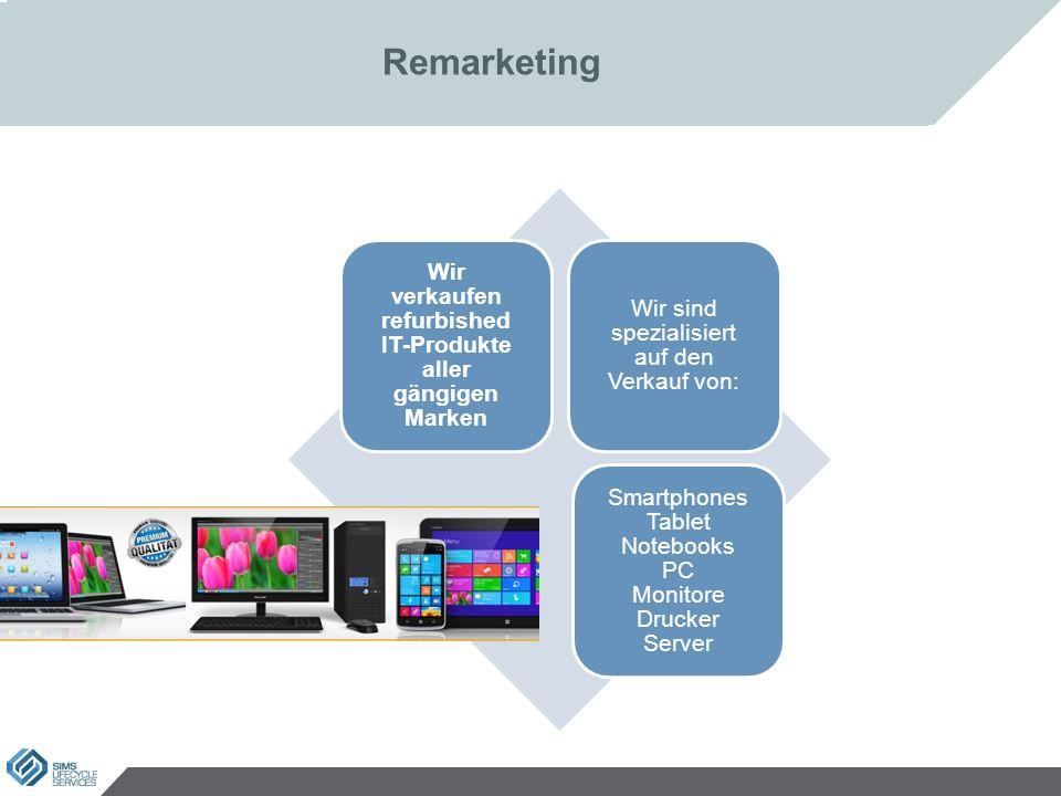 Remarketing Wir verkaufen refurbished IT-Produkte aller gängigen Marken Wir sind spezialisiert auf den Verkauf von: Smartphones Tablet Notebooks PC Monitore Drucker Server