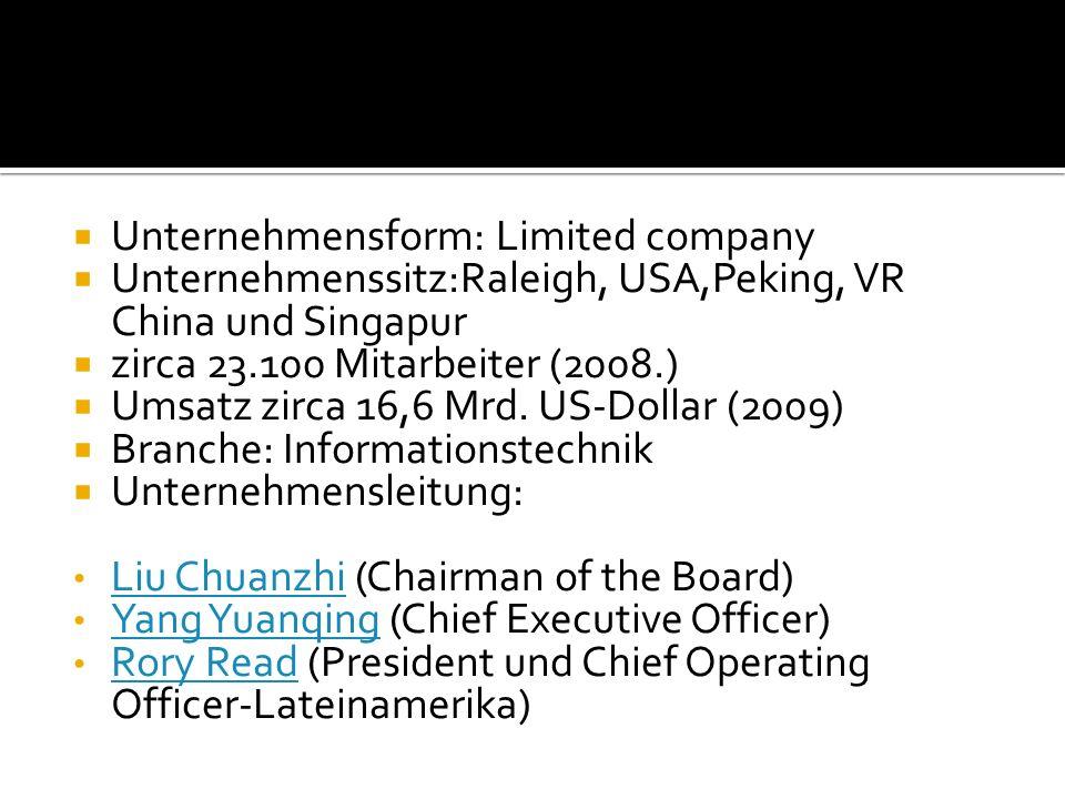  Unternehmensform: Limited company  Unternehmenssitz:Raleigh, USA,Peking, VR China und Singapur  zirca 23.100 Mitarbeiter (2008.)  Umsatz zirca 16,6 Mrd.