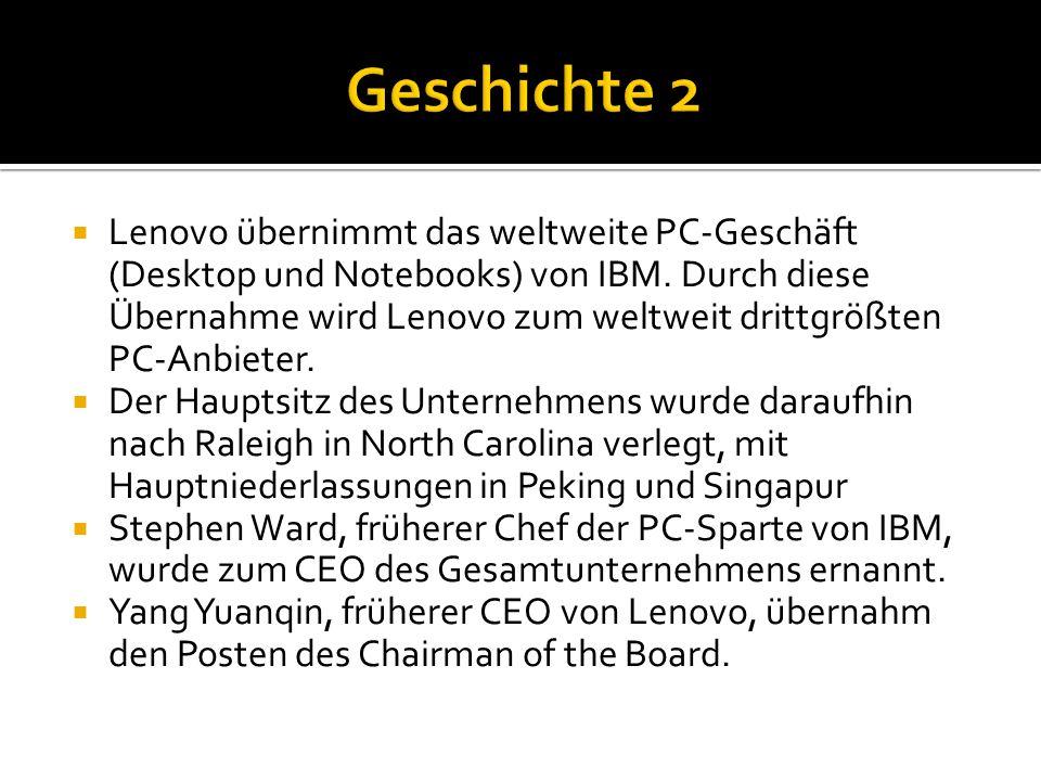  Lenovo produziert eine Vielzahl an elektronischen Geräten für den weltweiten Verkauf:  Lenovo ThinkCentre PCs  Lenovo ThinkPad Notebooks und Tablet PCs  Lenovo ThinkStation Workstation  Lenovo ThinkServer servers  IdeaCentre PCs