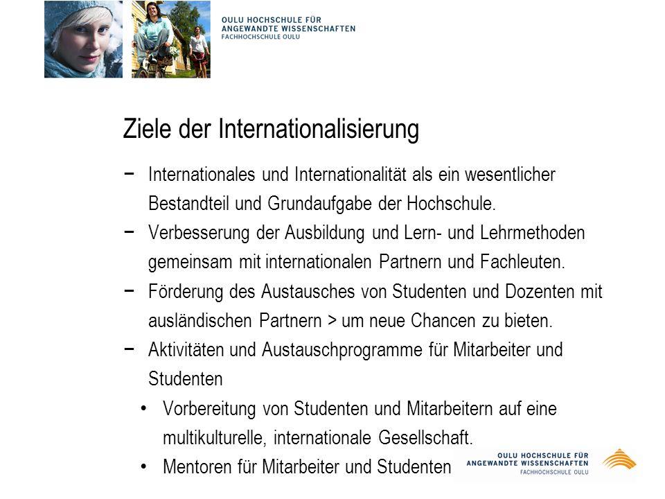 Ziele der Internationalisierung −Internationales und Internationalität als ein wesentlicher Bestandteil und Grundaufgabe der Hochschule.