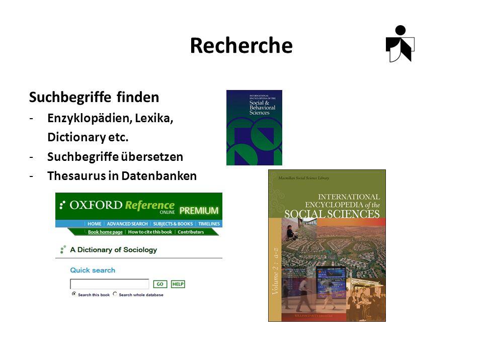 Recherche Suchbegriffe finden -Enzyklopädien, Lexika, Dictionary etc.