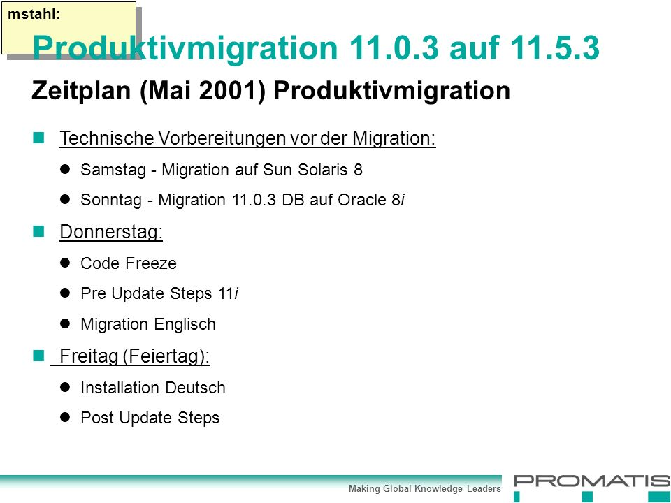Making Global Knowledge Leaders mstahl: Technische Vorbereitungen vor der Migration: Samstag - Migration auf Sun Solaris 8 Sonntag - Migration 11.0.3 DB auf Oracle 8i Donnerstag: Code Freeze Pre Update Steps 11i Migration Englisch Freitag (Feiertag): Installation Deutsch Post Update Steps Produktivmigration 11.0.3 auf 11.5.3 Zeitplan (Mai 2001) Produktivmigration