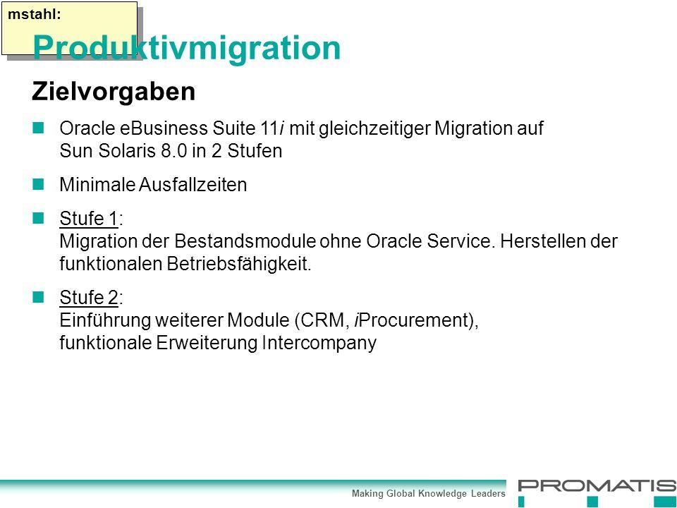 Making Global Knowledge Leaders mstahl: Oracle eBusiness Suite 11i mit gleichzeitiger Migration auf Sun Solaris 8.0 in 2 Stufen Minimale Ausfallzeiten Stufe 1: Migration der Bestandsmodule ohne Oracle Service.