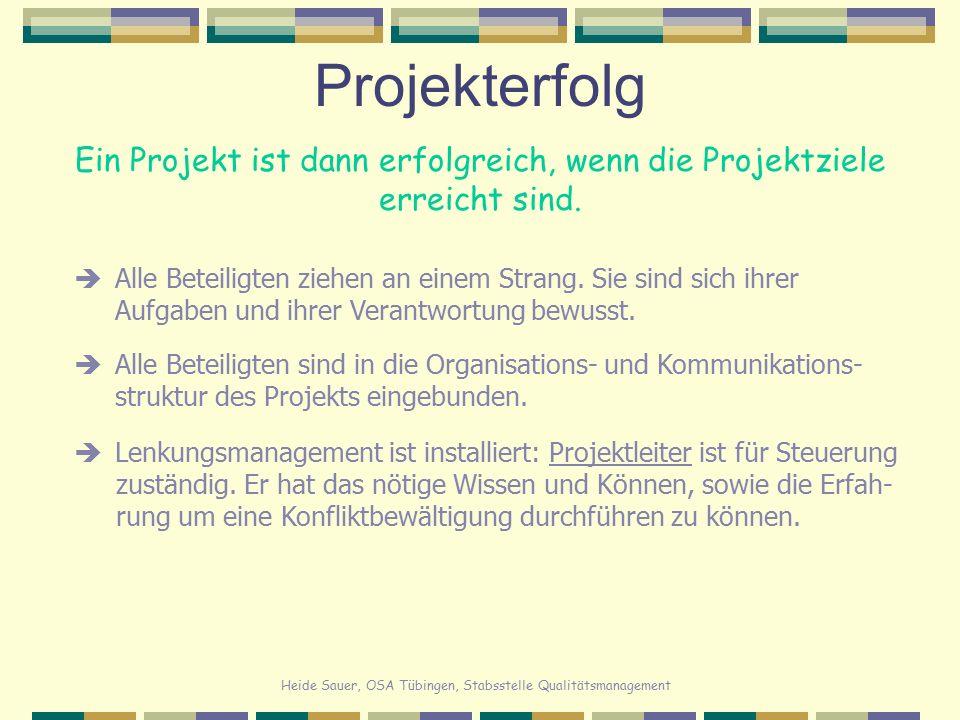 Heide Sauer, OSA Tübingen, Stabsstelle Qualitätsmanagement Projekterfolg Ein Projekt ist dann erfolgreich, wenn die Projektziele erreicht sind.  Alle