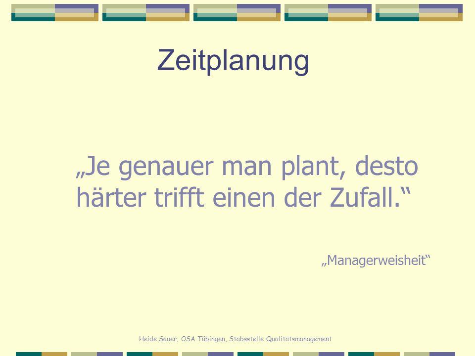 """Heide Sauer, OSA Tübingen, Stabsstelle Qualitätsmanagement Zeitplanung """" Je genauer man plant, desto härter trifft einen der Zufall."""" """"Managerweisheit"""