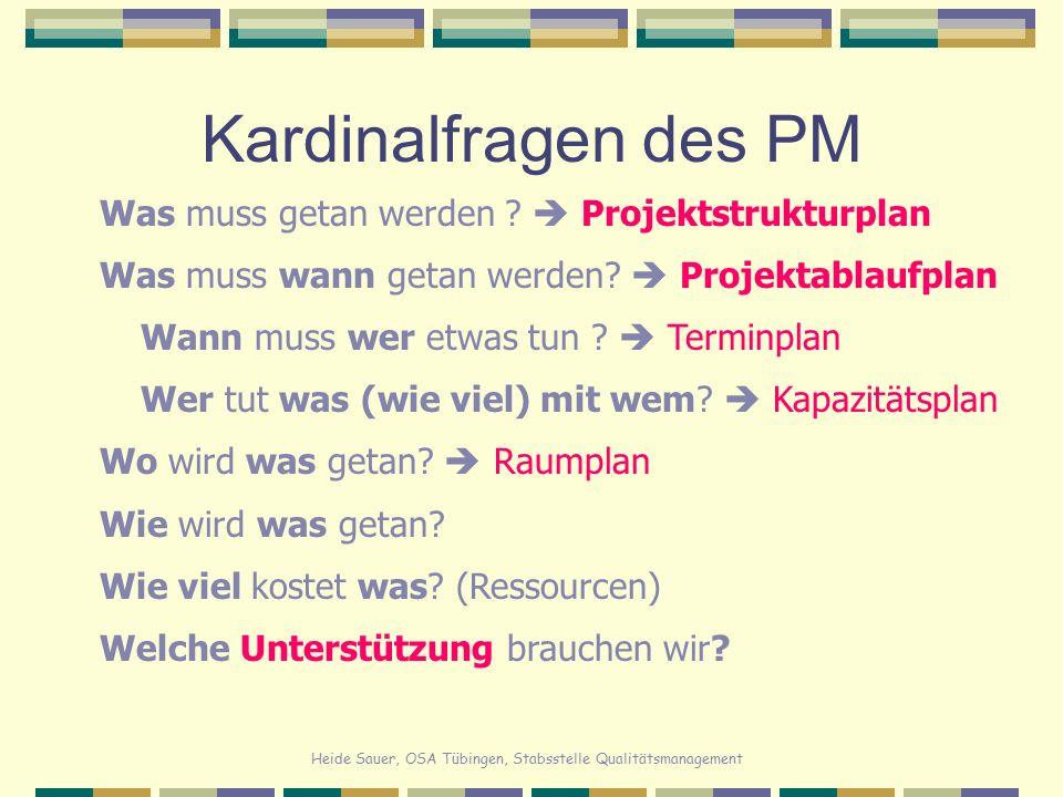 Heide Sauer, OSA Tübingen, Stabsstelle Qualitätsmanagement Kardinalfragen des PM Was muss getan werden ?  Projektstrukturplan Was muss wann getan wer