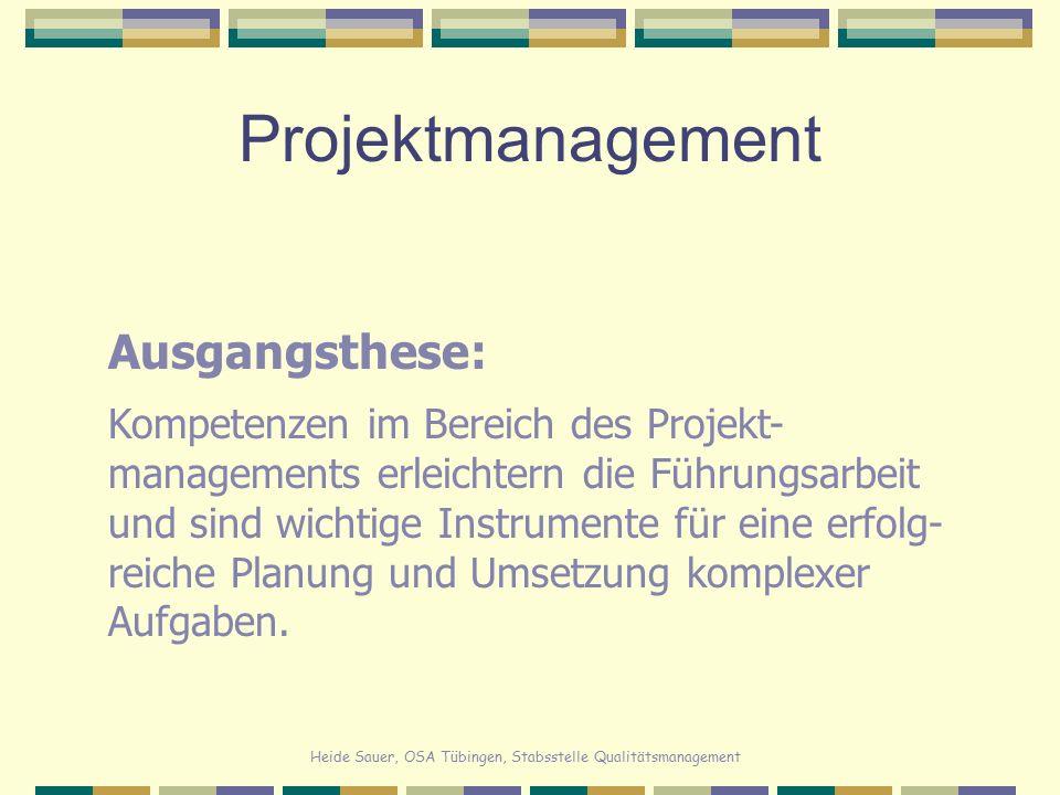 Heide Sauer, OSA Tübingen, Stabsstelle Qualitätsmanagement Projektmanagement Projektorganisation ist dann angezeigt, wenn die Aufgabe  begrenzbar ist  keine Routineaufgabe ist  zielorientiert ist  komplex und teamorientiert zu lösen ist  innovativ ist  handlungsorientiert ist