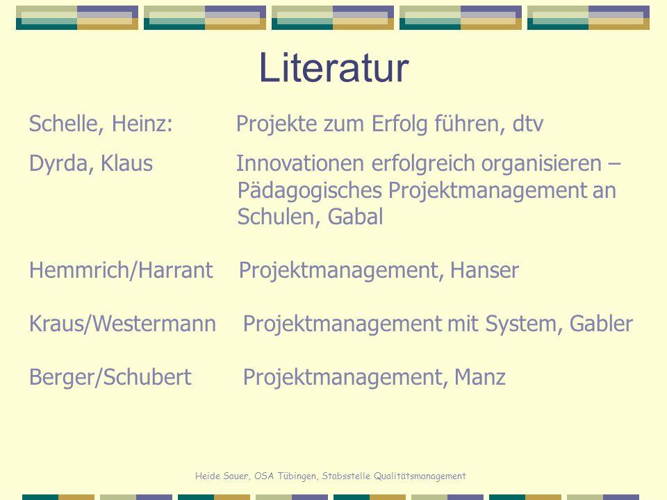 Heide Sauer, OSA Tübingen, Stabsstelle Qualitätsmanagement Literatur Schelle, Heinz: Projekte zum Erfolg führen, dtv Dyrda, Klaus Innovationen erfolgr