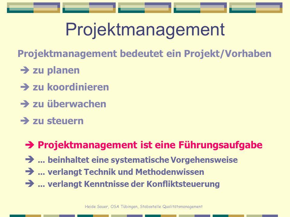 Heide Sauer, OSA Tübingen, Stabsstelle Qualitätsmanagement Projektmanagement Projektmanagement bedeutet ein Projekt/Vorhaben  Projektmanagement ist e