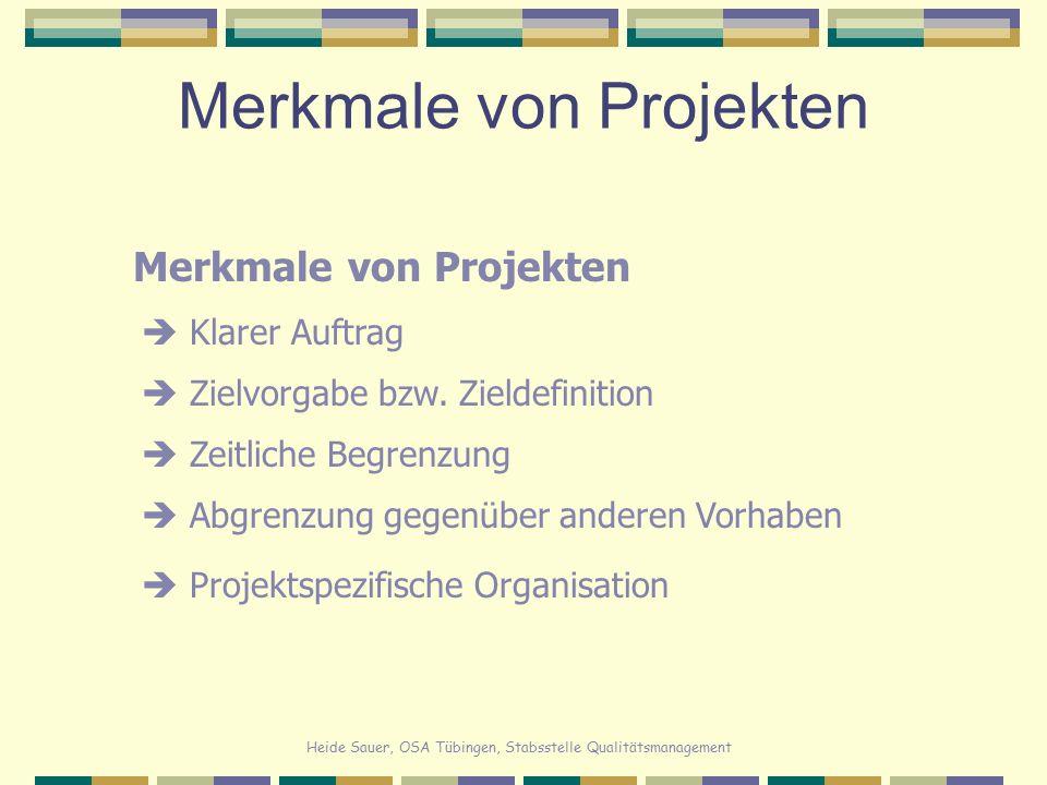 Heide Sauer, OSA Tübingen, Stabsstelle Qualitätsmanagement Projektplanung ProjektstrukturplanRisikoanalyseAblaufplanAufwandschätzungRessourcenplanungProjektstartKostenschätzungPlanoptimierung Definition der Arbeitspakete Festlegung der Reihenfolge Bestimmung der Dauer der Arbeitspakete (Pufferzeiten) Auf Vorgänge verteilen Notfall-Plan