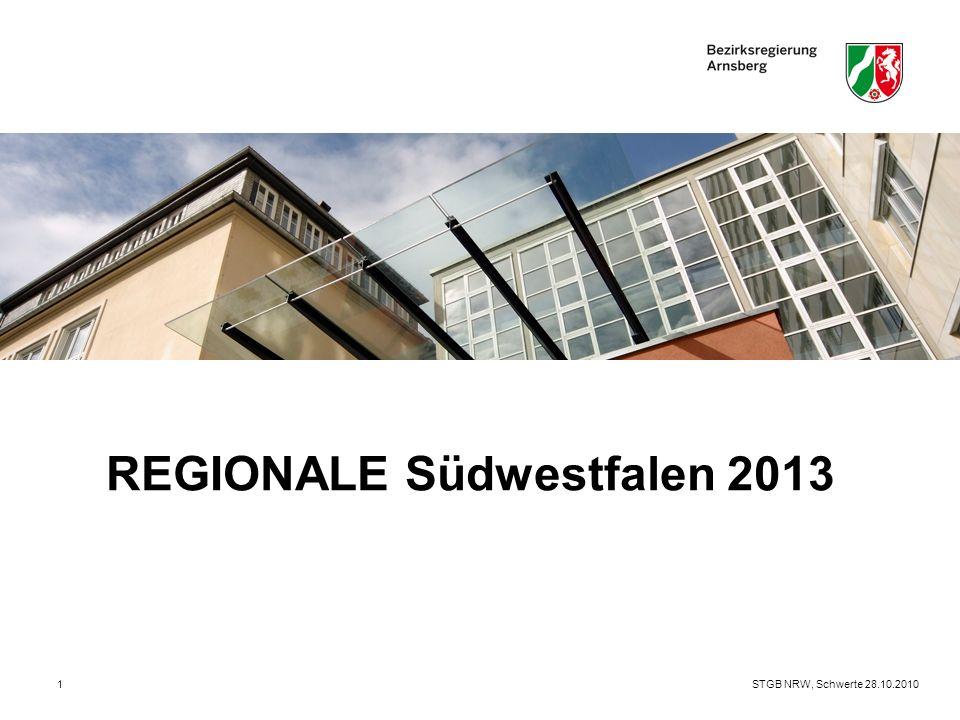 STGB NRW, Schwerte 28.10.20102  Gegenstand der REGIONALEN ist die gemeinschaftliche Formulierung und Umsetzung eines regionalen Strukturprogramms, das mit Projekten, Ereignissen und Initiativen zur Stärkung der regionalen Wettbewerbsfähigkeit und zur Schärfung des regionalen Profils beitragen soll  Zu diesem Zweck sollen die Städte und Gemeinden öffentliche und private Mittel konzentriert, zielgenau und regional abgestimmt einsetzen  Kurz: REGIONALEN sind Struktur(förder)programme des Landes zur Gestaltung des ökonomischen und ökologischen Strukturwandels REGIONALEN