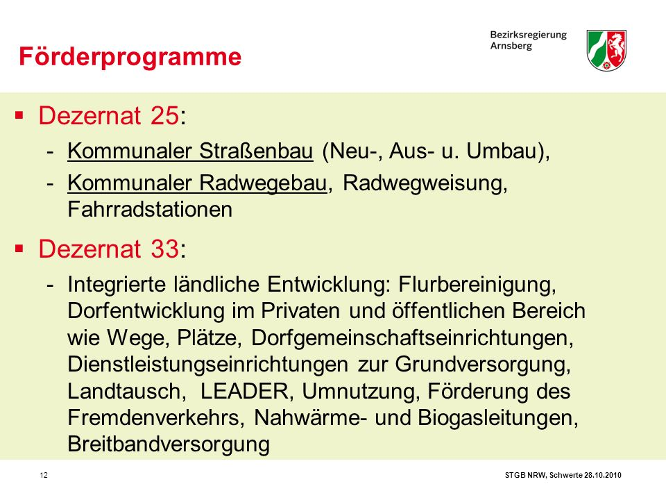 STGB NRW, Schwerte 28.10.201012  Dezernat 25: -Kommunaler Straßenbau (Neu-, Aus- u. Umbau), -Kommunaler Radwegebau, Radwegweisung, Fahrradstationen 