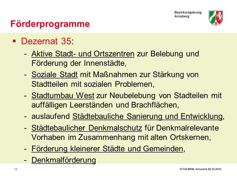 STGB NRW, Schwerte 28.10.201014  Dezernat 35: -Aktive Stadt- und Ortszentren zur Belebung und Förderung der Innenstädte, -Soziale Stadt mit Maßnahmen