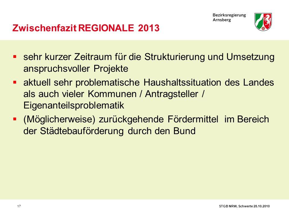 STGB NRW, Schwerte 28.10.201017 Zwischenfazit REGIONALE 2013  sehr kurzer Zeitraum für die Strukturierung und Umsetzung anspruchsvoller Projekte  ak