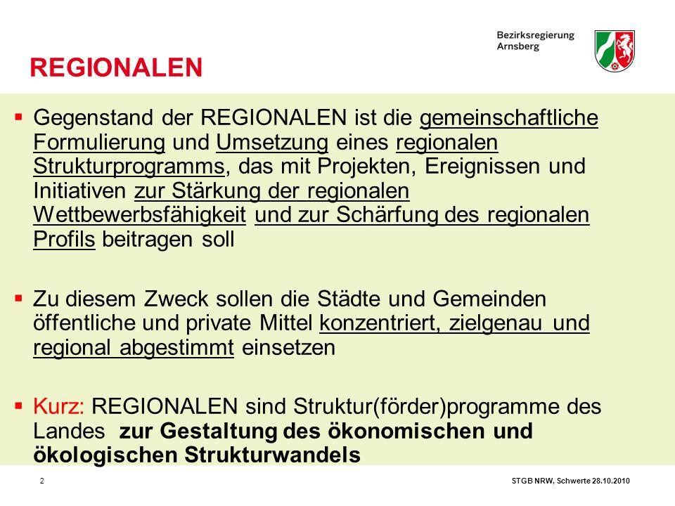 STGB NRW, Schwerte 28.10.20102  Gegenstand der REGIONALEN ist die gemeinschaftliche Formulierung und Umsetzung eines regionalen Strukturprogramms, da
