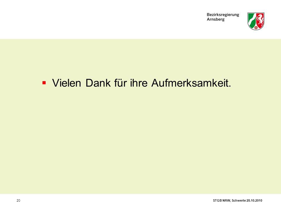 STGB NRW, Schwerte 28.10.201020  Vielen Dank für ihre Aufmerksamkeit.