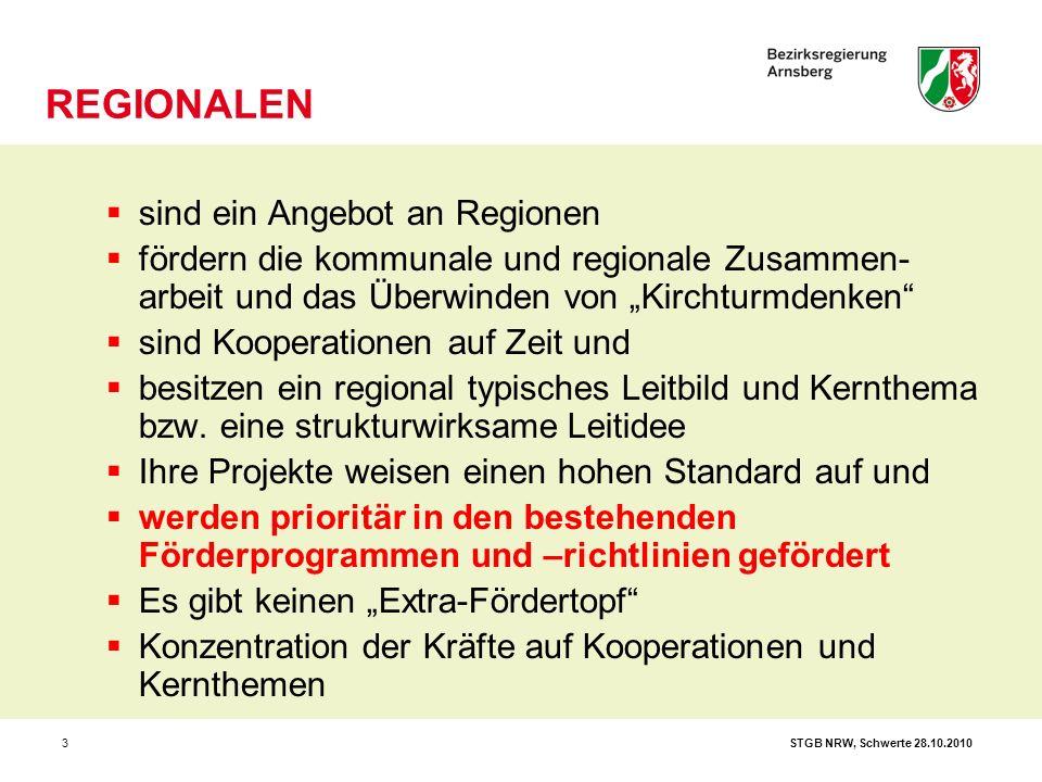 """STGB NRW, Schwerte 28.10.20103  sind ein Angebot an Regionen  fördern die kommunale und regionale Zusammen- arbeit und das Überwinden von """"Kirchturm"""