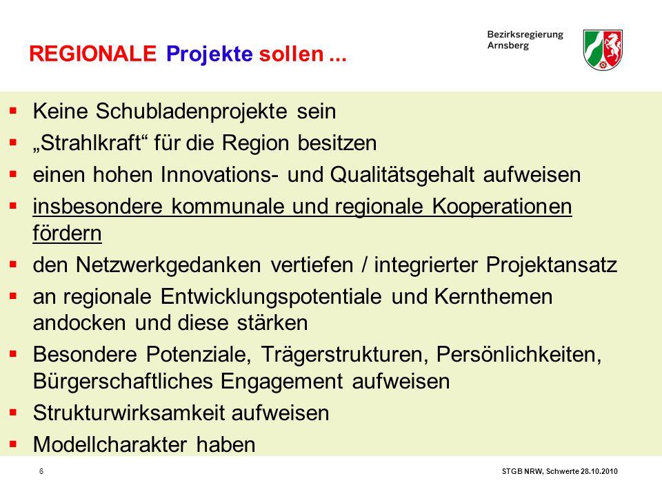 """STGB NRW, Schwerte 28.10.20106 REGIONALE Projekte sollen...  Keine Schubladenprojekte sein  """"Strahlkraft"""" für die Region besitzen  einen hohen Inno"""