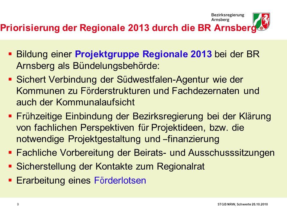 9  Bildung einer Projektgruppe Regionale 2013 bei der BR Arnsberg als Bündelungsbehörde:  Sichert Verbindung der S ü dwestfalen-Agentur wie der Komm