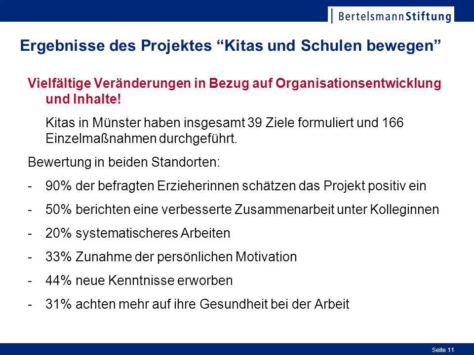 Seite 11 Ergebnisse des Projektes Kitas und Schulen bewegen Vielfältige Veränderungen in Bezug auf Organisationsentwicklung und Inhalte.