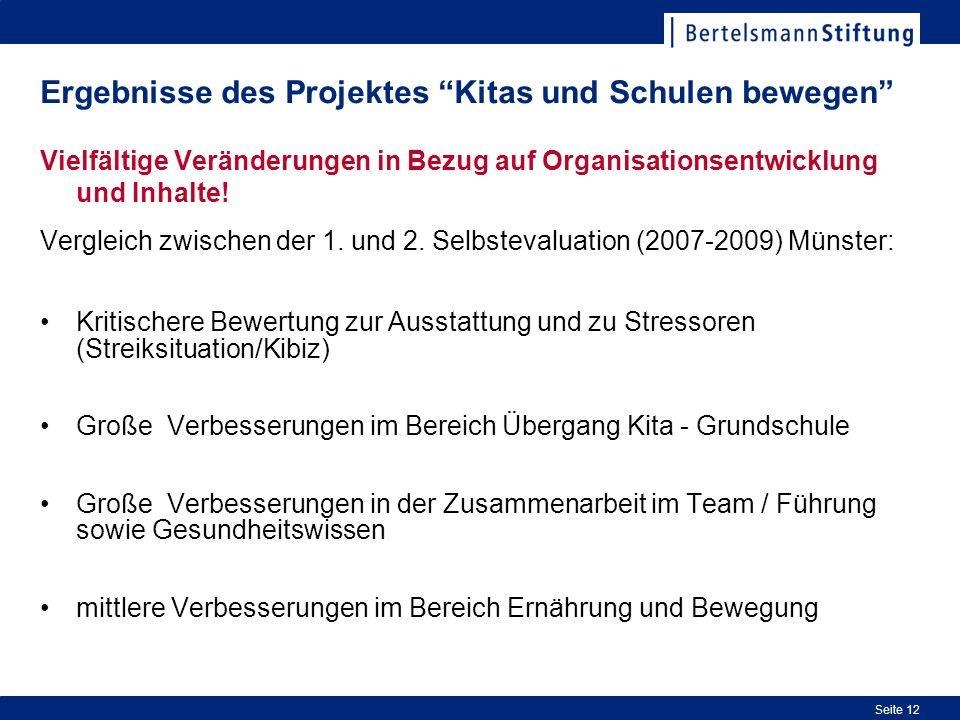 Seite 12 Ergebnisse des Projektes Kitas und Schulen bewegen Vielfältige Veränderungen in Bezug auf Organisationsentwicklung und Inhalte.