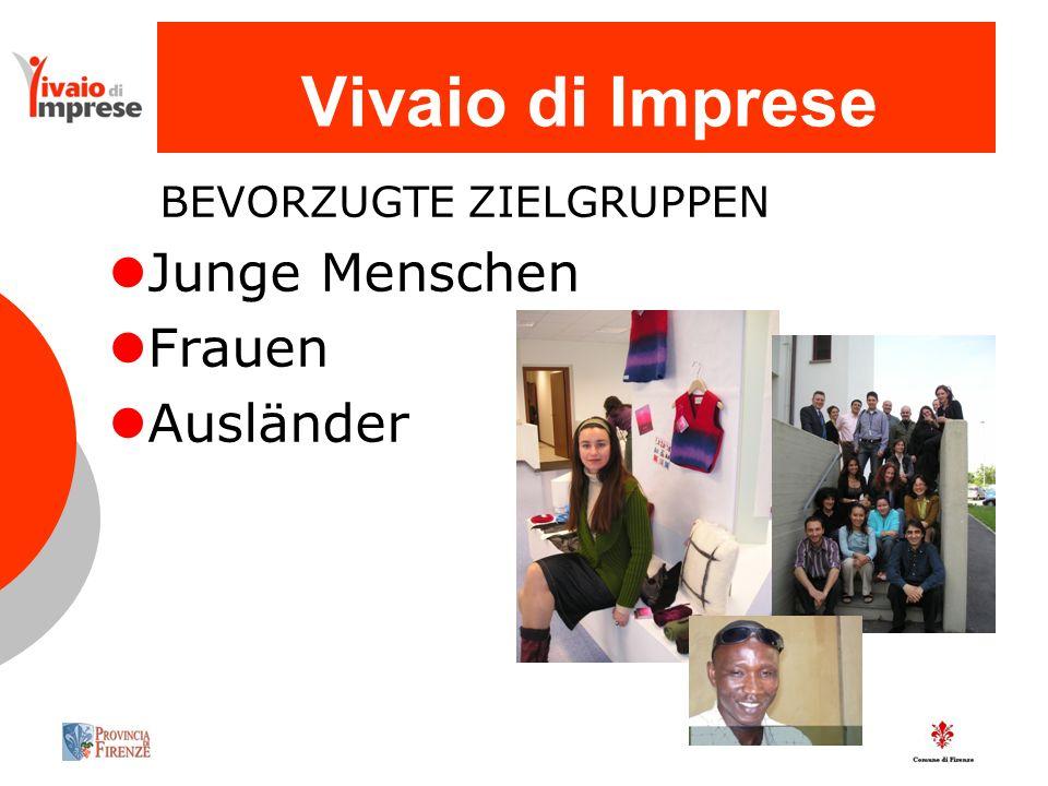 Vivaio di Imprese BEVORZUGTE ZIELGRUPPEN Junge Menschen Frauen Ausländer