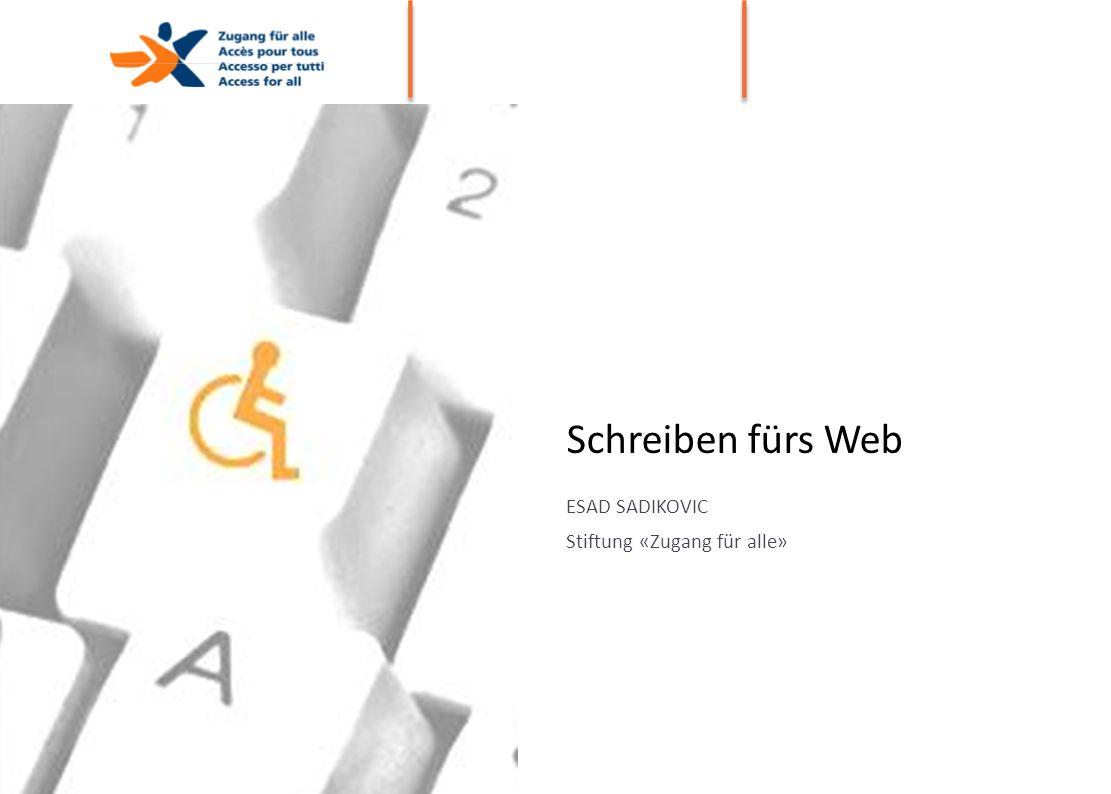 Schreiben fürs Web ESAD SADIKOVIC Stiftung «Zugang für alle» DATUM ORT