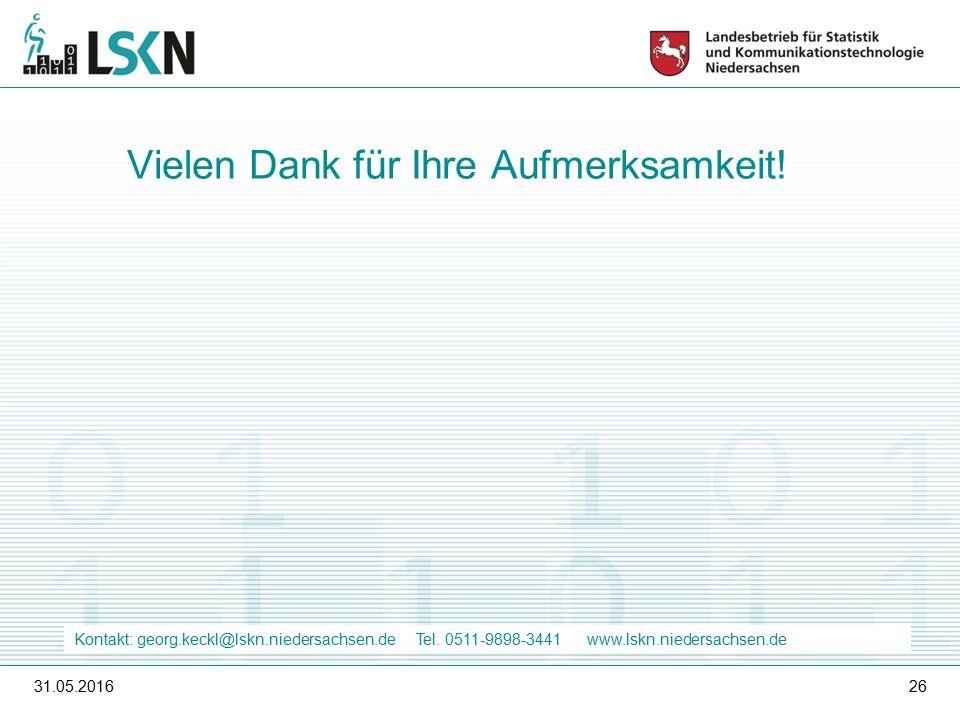 31.05.201626 Vielen Dank für Ihre Aufmerksamkeit. Kontakt: georg.keckl@lskn.niedersachsen.de Tel.