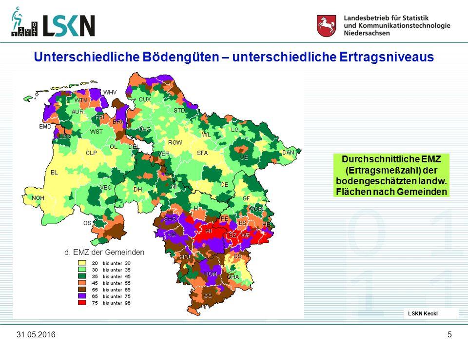 31.05.20165 LSKN Keckl Durchschnittliche EMZ (Ertragsmeßzahl) der bodengeschätzten landw.