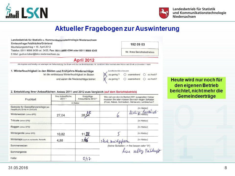31.05.20168 Heute wird nur noch für den eigenen Betrieb berichtet, nicht mehr die Gemeindeerträge Aktueller Fragebogen zur Auswinterung
