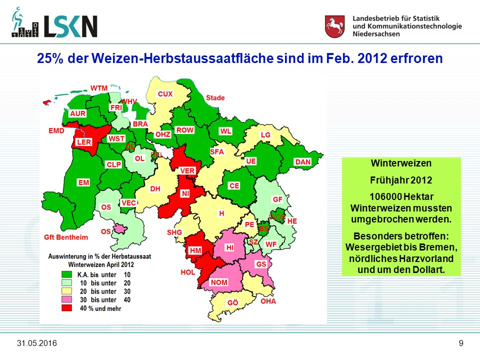 31.05.20169 Winterweizen Frühjahr 2012 106000 Hektar Winterweizen mussten umgebrochen werden.