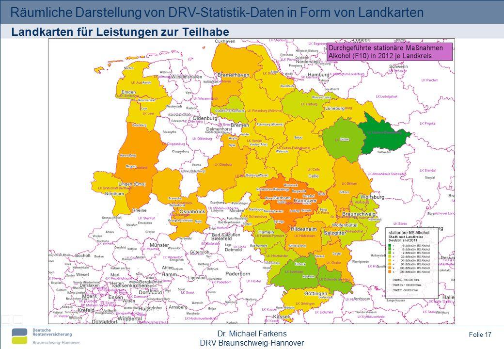 Räumliche Darstellung von DRV-Statistik-Daten in Form von Landkarten Dr.