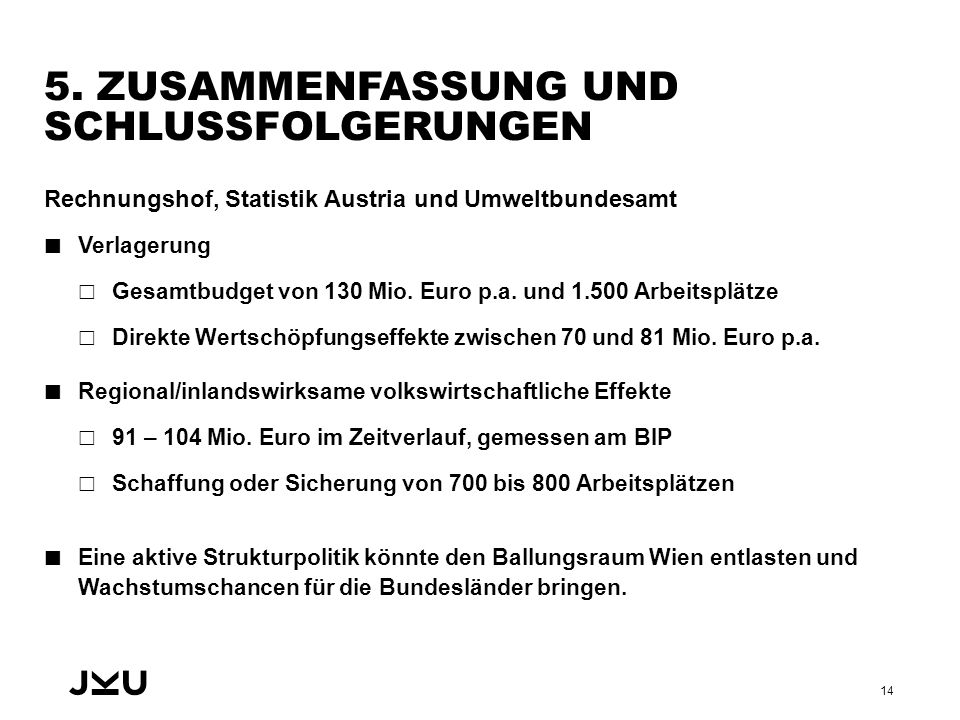 5. ZUSAMMENFASSUNG UND SCHLUSSFOLGERUNGEN Rechnungshof, Statistik Austria und Umweltbundesamt Verlagerung  Gesamtbudget von 130 Mio. Euro p.a. und 1.