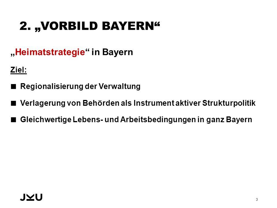 """2. """"VORBILD BAYERN"""" """"Heimatstrategie"""" in Bayern Ziel: Regionalisierung der Verwaltung Verlagerung von Behörden als Instrument aktiver Strukturpolitik"""