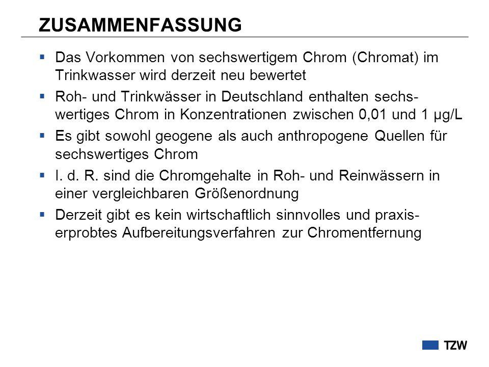 ZUSAMMENFASSUNG  Das Vorkommen von sechswertigem Chrom (Chromat) im Trinkwasser wird derzeit neu bewertet  Roh- und Trinkwässer in Deutschland enthalten sechs- wertiges Chrom in Konzentrationen zwischen 0,01 und 1 µg/L  Es gibt sowohl geogene als auch anthropogene Quellen für sechswertiges Chrom  I.