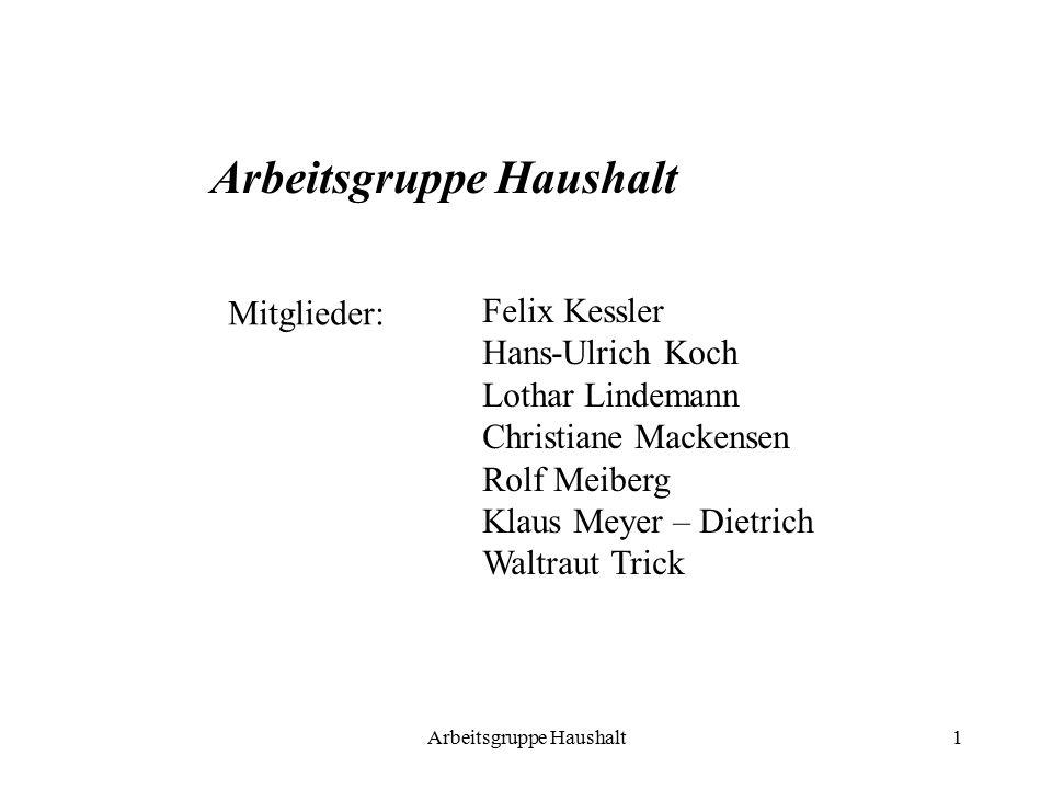 Arbeitsgruppe Haushalt1 Mitglieder: Felix Kessler Hans-Ulrich Koch Lothar Lindemann Christiane Mackensen Rolf Meiberg Klaus Meyer – Dietrich Waltraut Trick