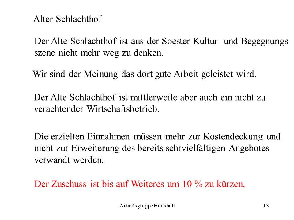 Arbeitsgruppe Haushalt13 Alter Schlachthof Der Alte Schlachthof ist aus der Soester Kultur- und Begegnungs- szene nicht mehr weg zu denken.