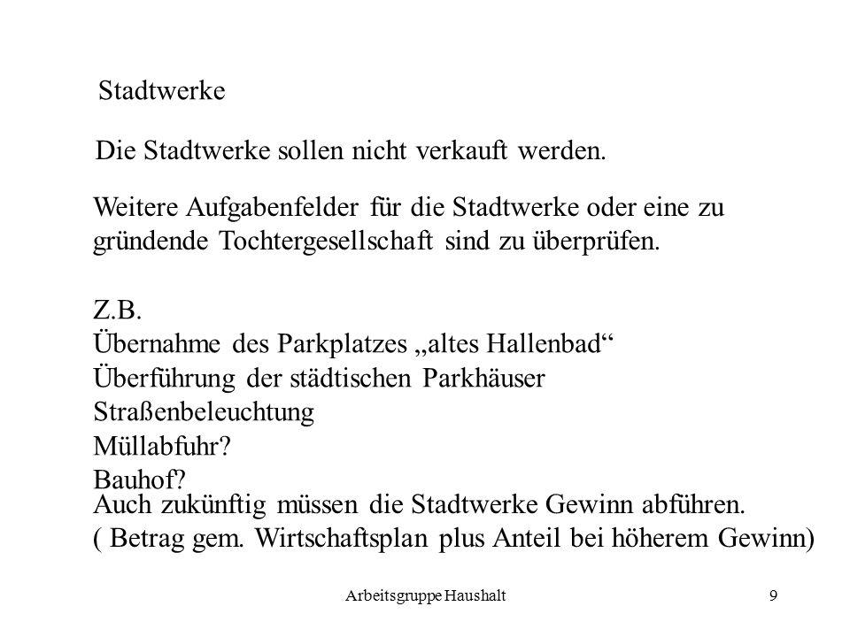 Arbeitsgruppe Haushalt9 Stadtwerke Die Stadtwerke sollen nicht verkauft werden.