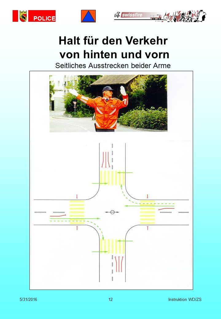POLICE 5/31/201612Instruktion WD/ZS Halt für den Verkehr von hinten und vorn Seitliches Ausstrecken beider Arme