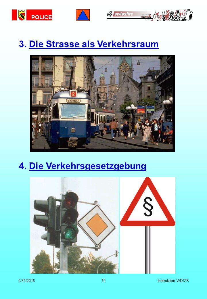 POLICE 5/31/201619Instruktion WD/ZS 3. Die Strasse als Verkehrsraum 4. Die Verkehrsgesetzgebung