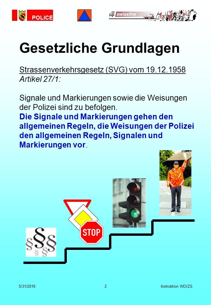POLICE 5/31/20162Instruktion WD/ZS Strassenverkehrsgesetz (SVG) vom 19.12.1958 Artikel 27/1: Signale und Markierungen sowie die Weisungen der Polizei sind zu befolgen.